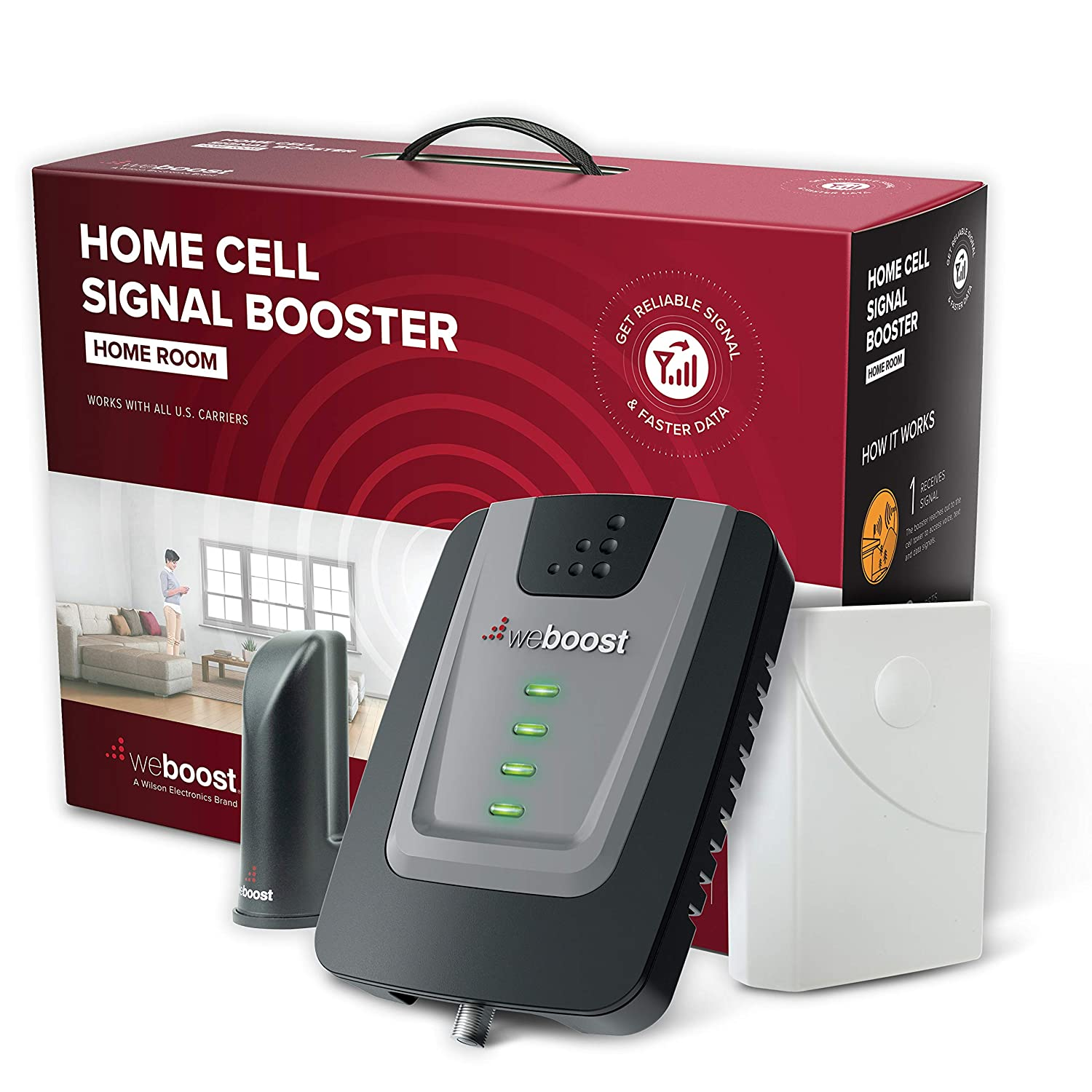 weBoost Home Room (472120) Cell Phone Signal Booster Kit | Up to 1,500 sq ft | All U.S. Carriers - Verizon, AT&T, T-Mobile, Sprint & More | FCC Approved