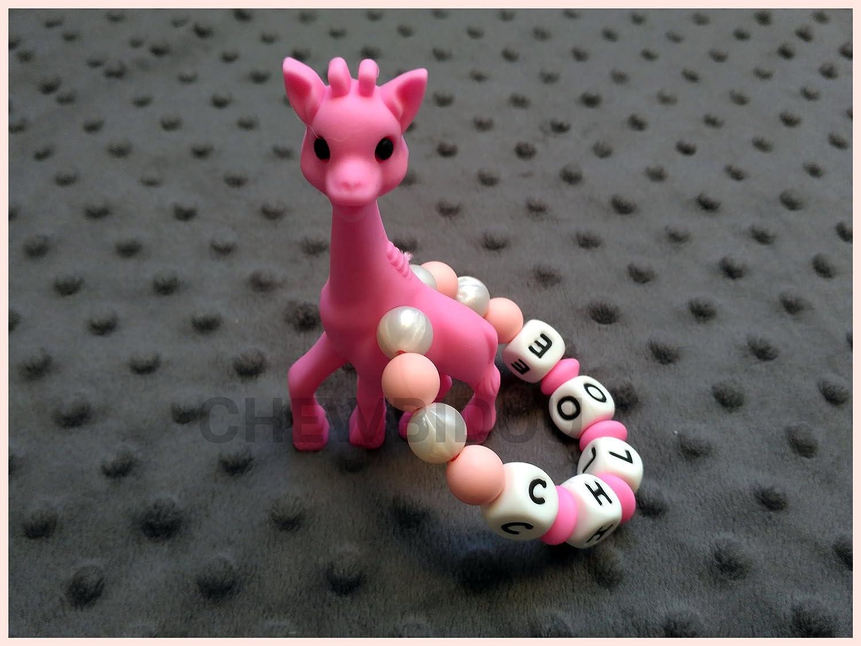 Hochet de dentition personnalis/é 100/% silicone jouet de dentition Girafe