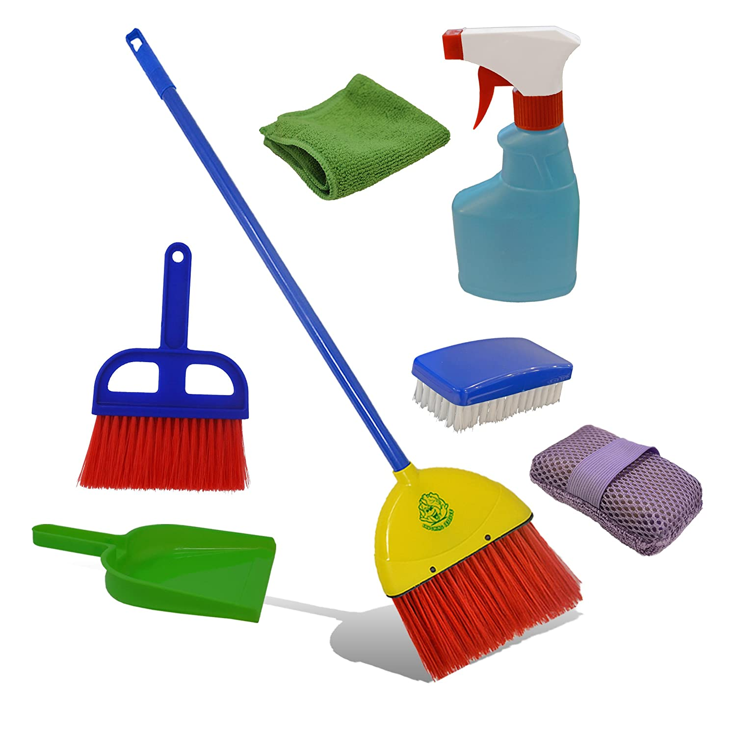 Childrens Cleaning Set- Broom, Dustpan, Mini Sweeper, Spray Bottle, Sponge, Scrub Brush, Microfiber Cloth. Toy Cleaning Supplies that Work Montessori Housekeeping Tools that Fit Into Kid's Hands   B076J1LFFT