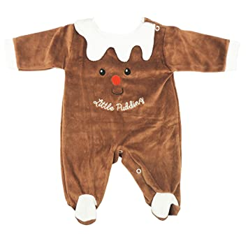 Christmas Pudding Baby Outfit.Festive Christmas Winter Baby Girls Boys Romper Sleeper All In One White Brown Little Pudding Outfit 0 3 Months