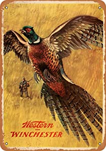 SRongmao 8 x 12 Tin Metal Sign - Vintage Look 1958 Western Winchester Pheasant Bar Cafe Home Wall Art Deco