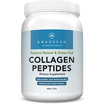 Premium Grass Fed Collagen Peptides Powder (17.6oz) | Paleo Friendly | Unflavored, Odorless, Cold Water Soluble | Hydrolyzed Gelatin Protein | Promotes ...