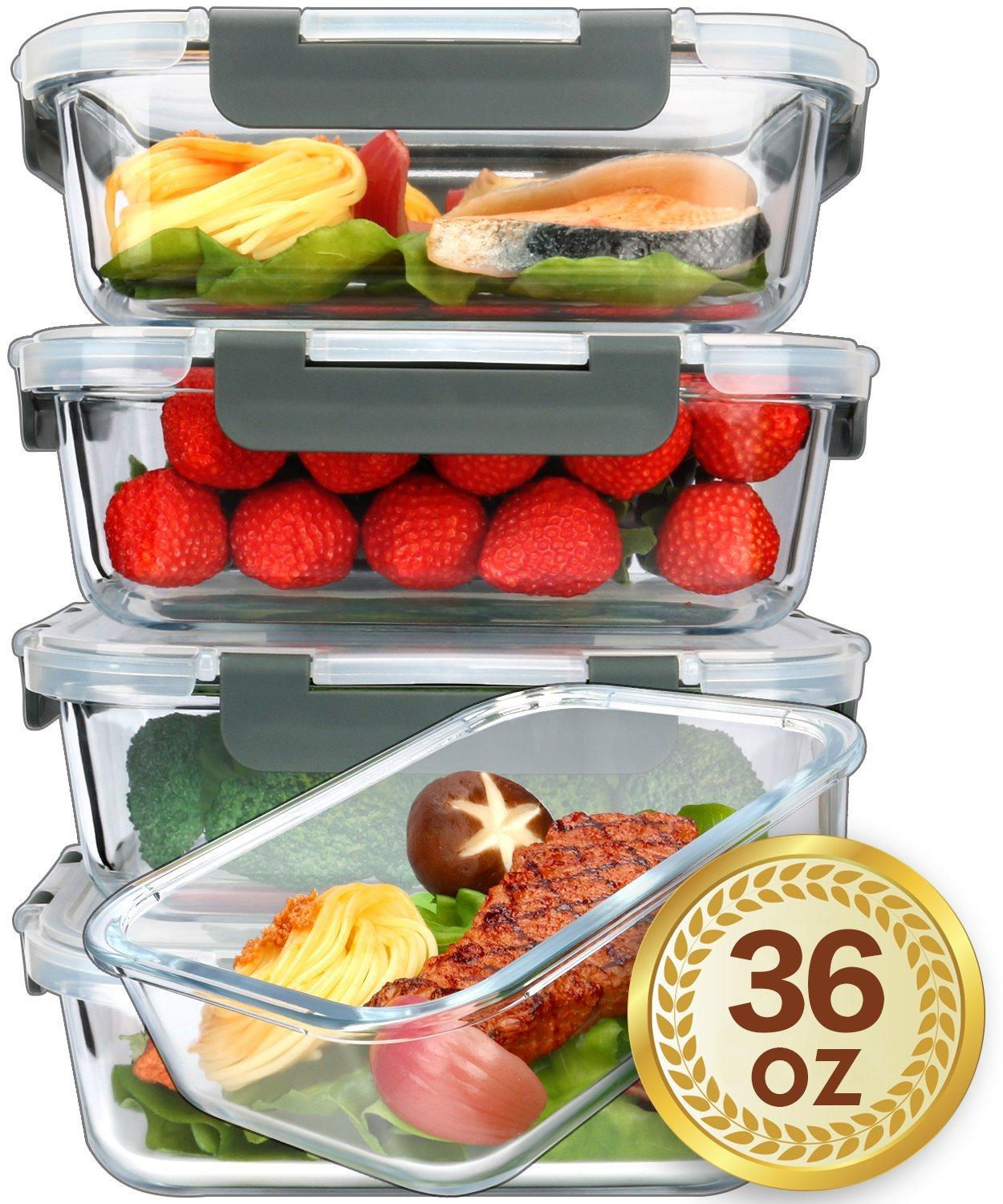 [5-Packs, 36 Oz.] Glass Meal Prep Containers with Lifetime Lasting Snap Locking Lids Glass Food Containers,Airtight Lunch Container,Microwave, Oven, Freezer and Dishwasher Safe(4.5 Cup) glass-container005