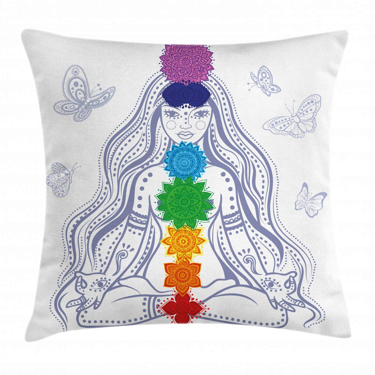 Ambesonne Chakra Throw Pillow Cushion Cover, Girl in Lotus with Colorful Chakra Stones Yoga Meditation Relax Theme Oriental, Decorative Square Accent Pillow Case, 20'' X 20'', Multicolor