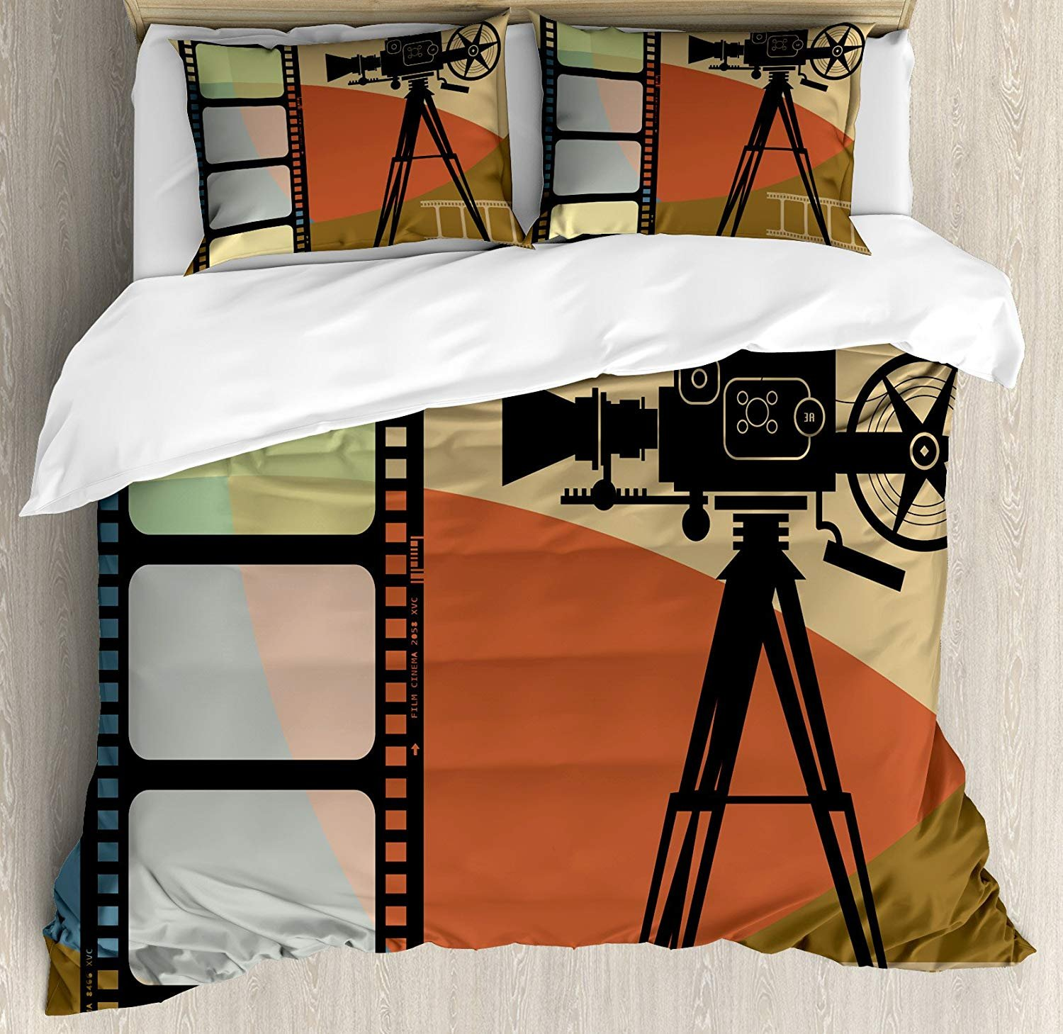 Movie Theater Twin Duvet Cover Sets 4 Piece Bedding Set Bedspread with 2 Pillow Sham, Flat Sheet for Adult/Kids/Teens, Abstract Retro Style Colorful Composition with Projection and Strip Border