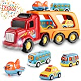 Toys for 1 2 3 4 5 6 Year Old Boys, Kids Toys Car for Girls Boys Toddlers 5 in 1 Friction Power Toys Vehicle Carrier Truck fo