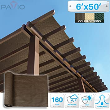 Patio Paradise 6u0027x50u0027 Sunblock Shade Cloth Roll,Brown Sun Shade Fabric 95