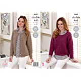 93a39f9012960f King Cole Ladies Double Knitting DK Pattern Easy Knit Raglan Sleeve Sweater    Cardigan (4684