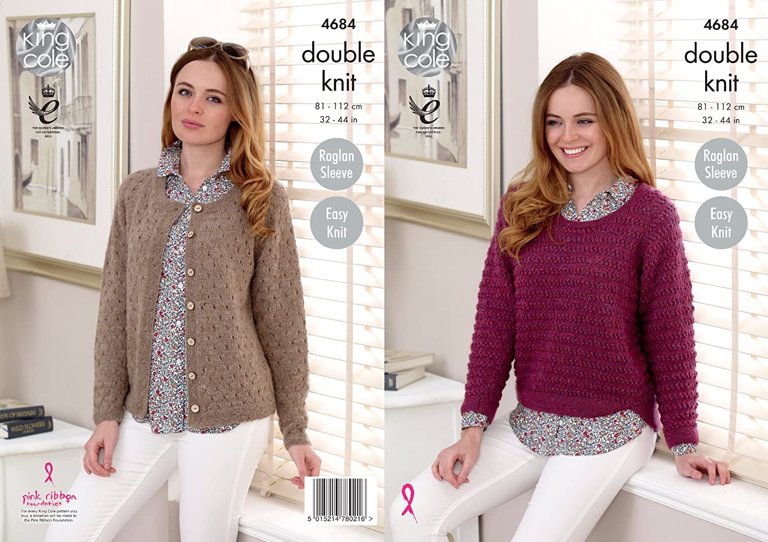 King Cole Ladies Double Knitting DK Pattern Easy Knit Raglan Sleeve ...