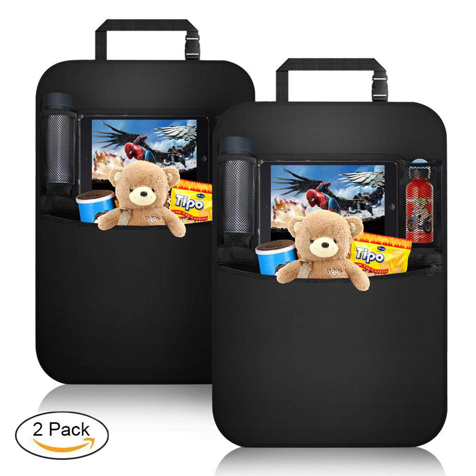 KIPIDA Car Back Seat Organizer Protector 2 Pack, Waterproof Kick Mats,Clear Touch Screen Tablet Holder Large Storage Pockets-【Black】