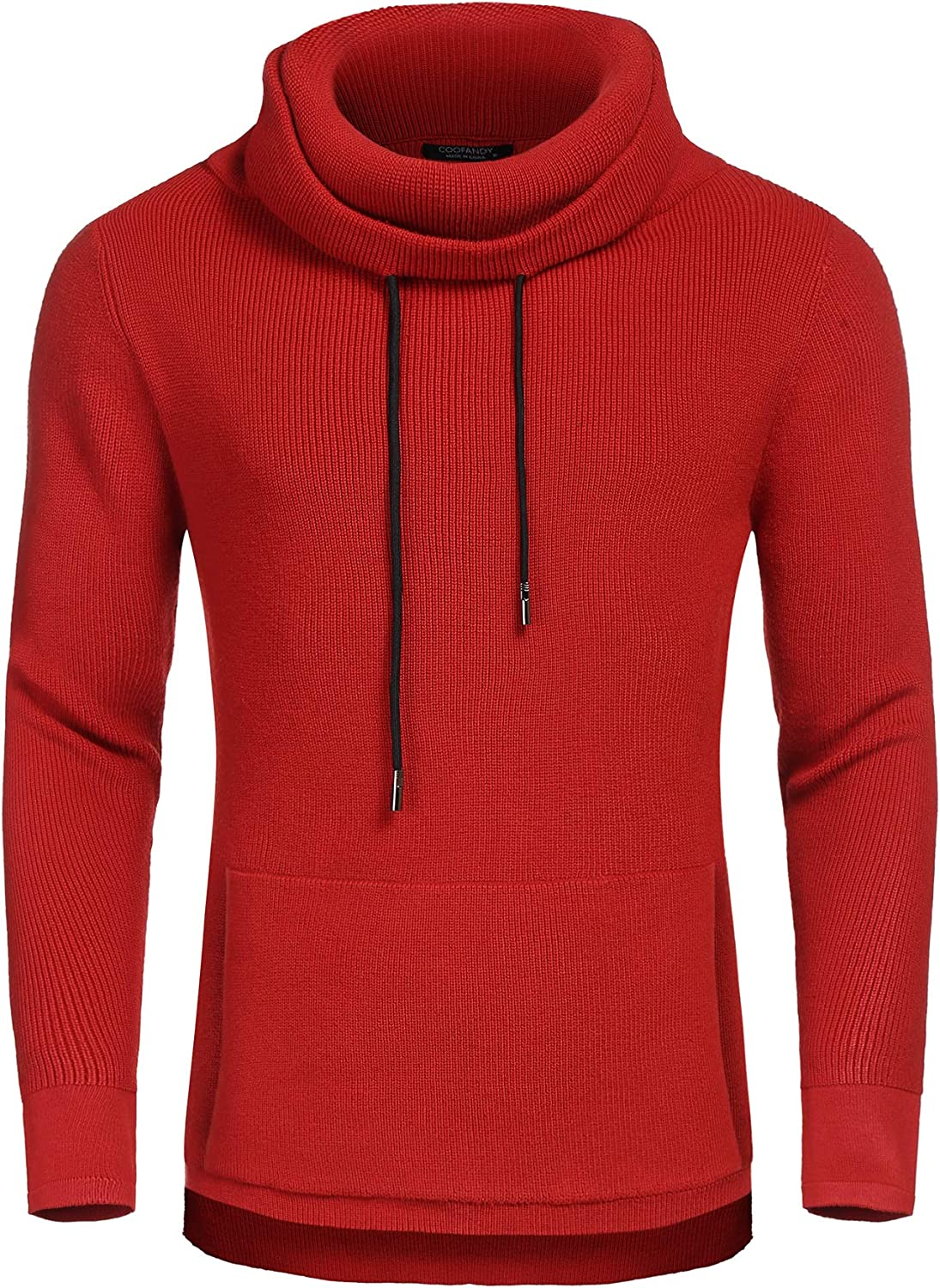 COOFANDY Men/'s Knitted Cotton Pullover Hoodie Long Sleeve Turtleneck Sweater