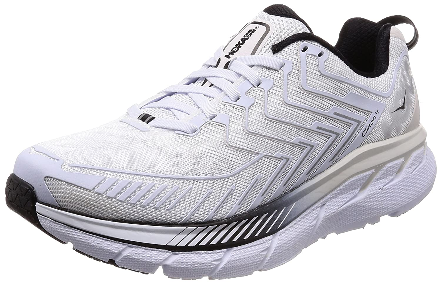 nueva selección comprar baratas comprar bien HOKA ONE ONE Men's M Clifton 4 White/Black Running Shoe 8.5 Men US