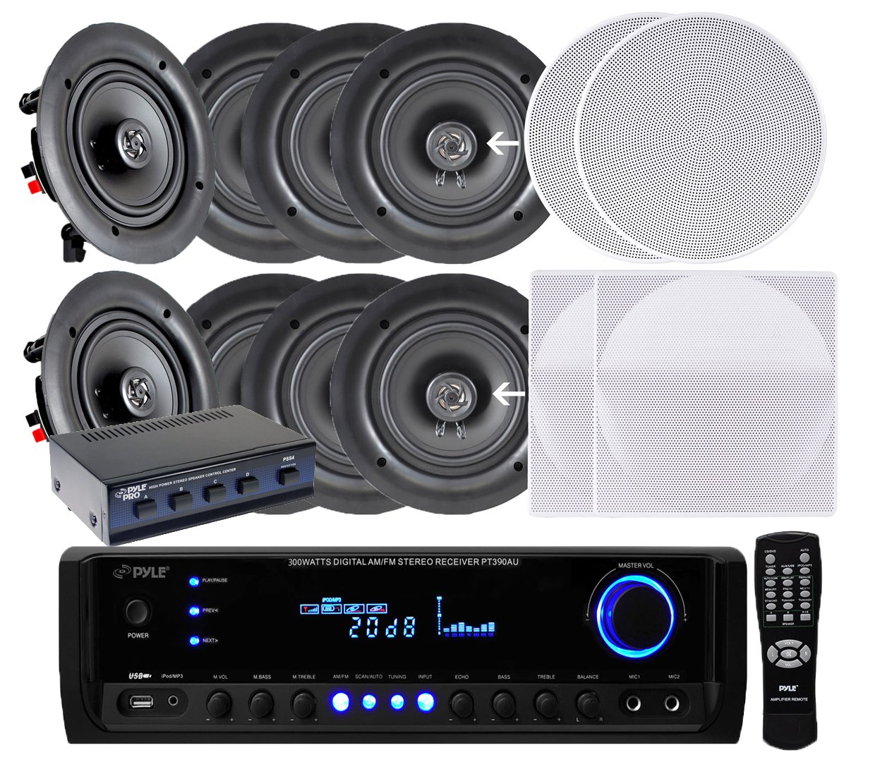Pyle Kthsp690s 4 Pairs Of 200w 65 In Wall Ceiling Wiring Outdoor Speakers To Stereo Receiver White W 300w Digital Home Usb Sd Aux Input