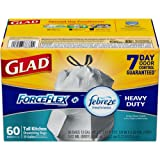 Glad ForceFlex OdorShield Tall Kitchen Drawstring Trash Bags - Febreze Crisp Clean - 13 Gallon - 60 Count (Packaging May Vary)