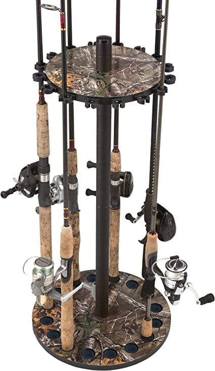 Fishing Camo Round Floor Rack for Fishing Rod Storage Holds up to 15 New