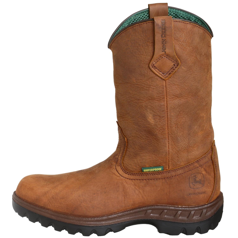 John Deere jd4504 Hombres Resistente al Agua de la Piel Wellington Botas de Trabajo, Color marrón, Talla 43,5 EU: Amazon.es: Zapatos y complementos
