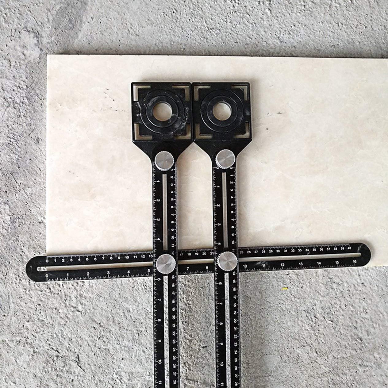 Doppelkopf Faltlineal Fliesenloch Ortung Universal Verstellbares Mauerwerk Glas Festes perforiertes Handwerkzeug-Schwarz BCVBFGCXVB