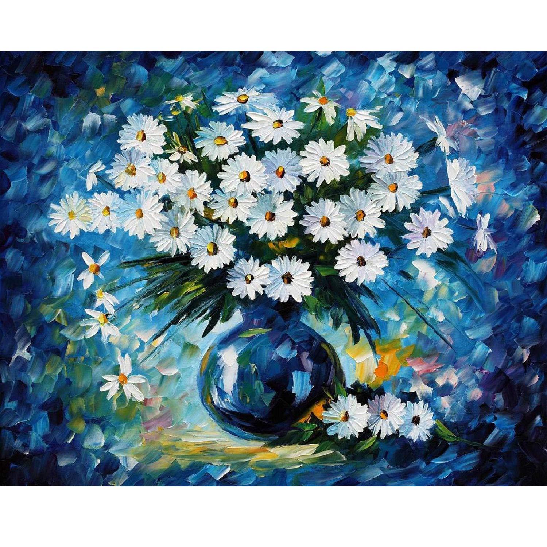 Artoree DIY 5D Diamond Painting by Number Kit for Adult, Full Drill Diamond Embroidery Dotz Kit Home Wall Decor-20x16'' Blue Daisy by Artoree