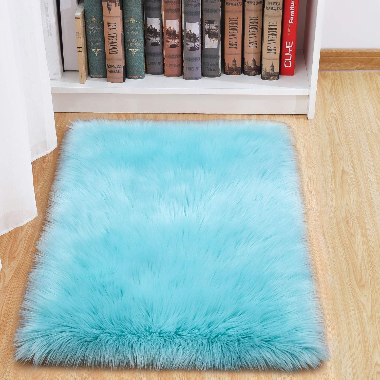 junovo Luxury Fluffy Area Rugs Furry Rug for Bedroom Faux Fur Sheepskin Nursery Rugs Fur Carpet for Kids Room Living Room Home Decor Floor Mat, 2ft x 3ft Light Blue