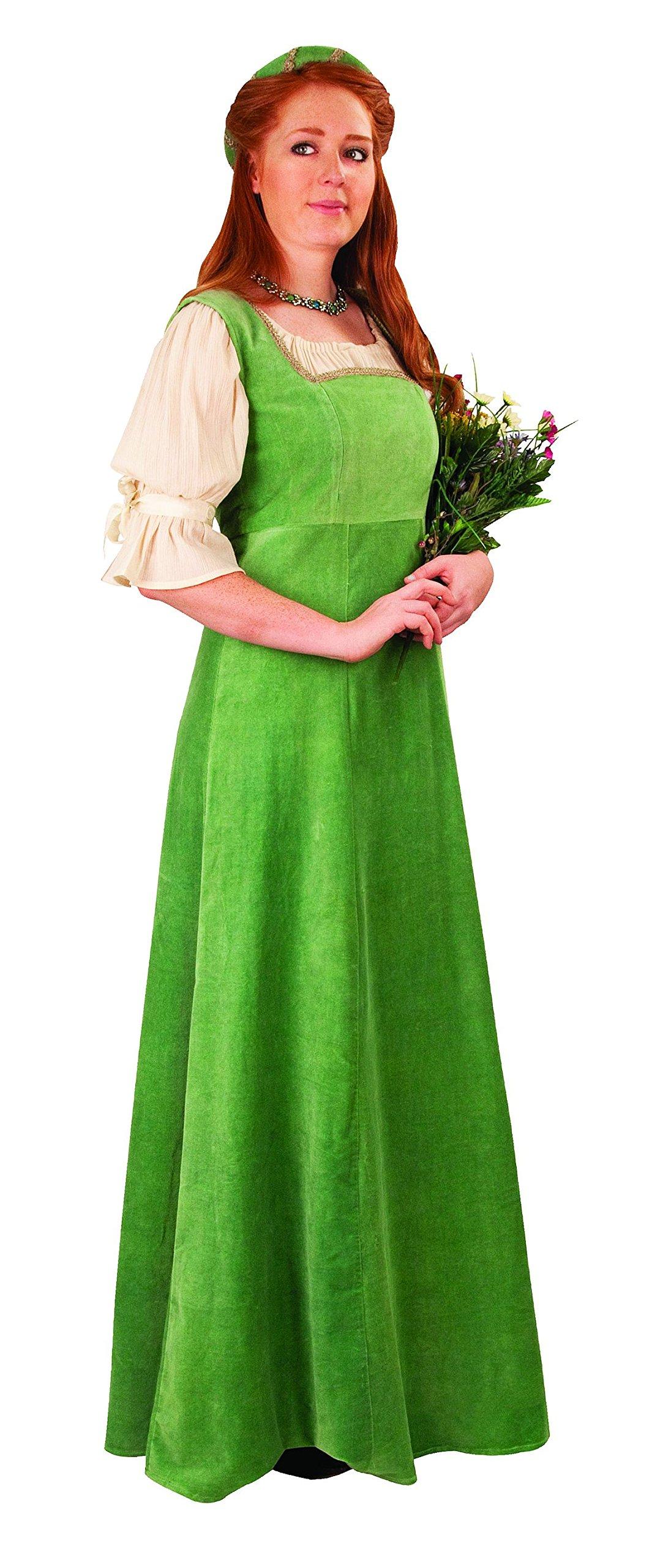 Mulberry Faire Medieval Velvet Overdress w/Headband (Medium, Soft Green)