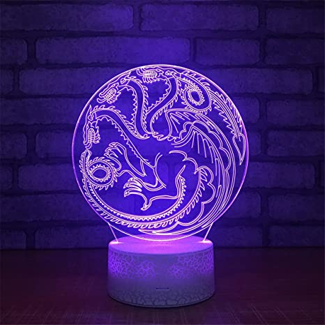 Lovely Visual Dragon 3D Touch Optical Illusion Night Light Crackle Paint  Base 7 Colors Changing Beside
