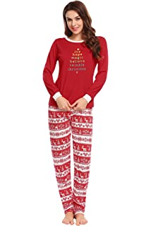 e32546161348 Ekouaer Women s Pajamas Soft Christmas 2 Pieces Top and Pants Sleepwear Pjs  Set