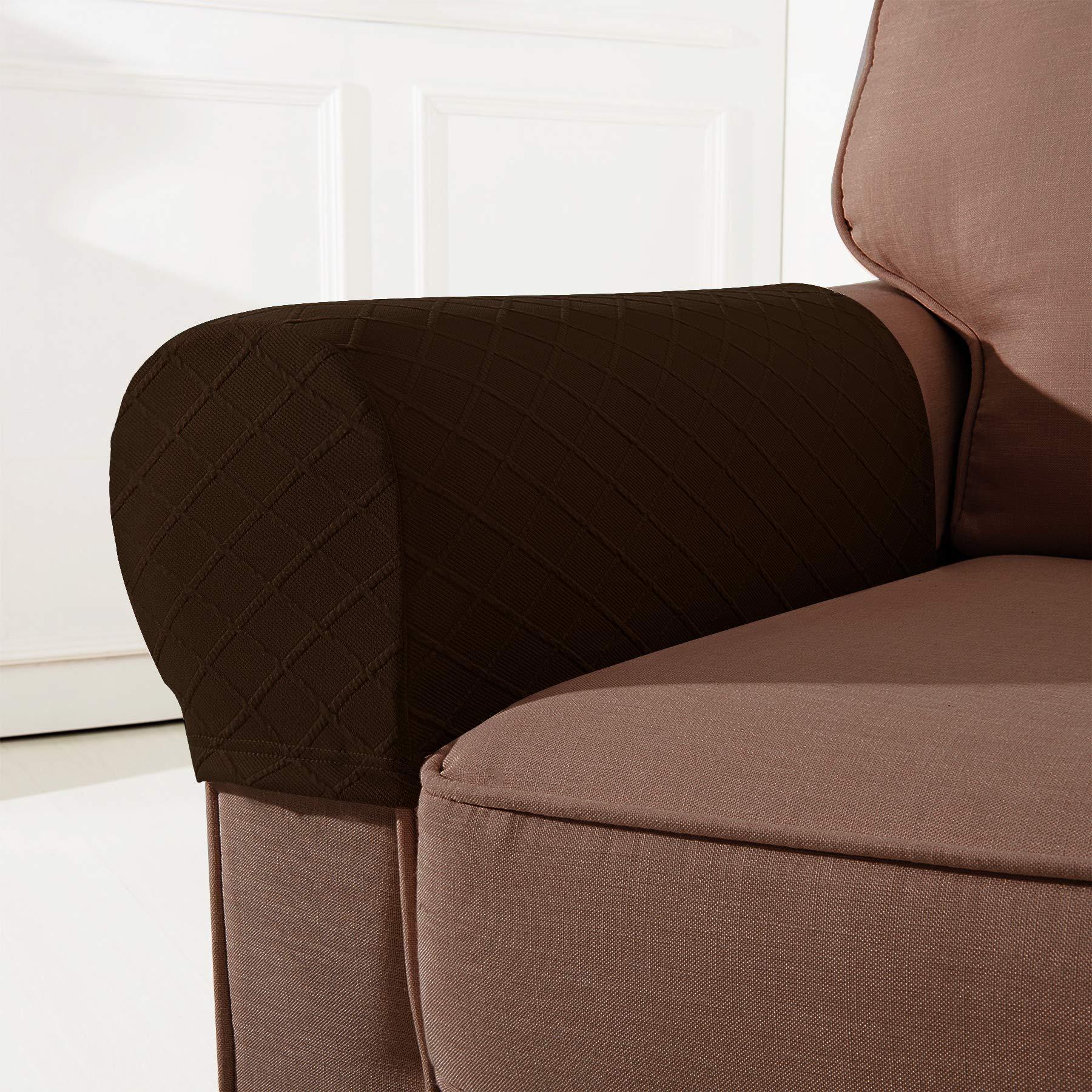 CHUN YI Set of 2 Rhombus Jacquard Stretch Polyester Spandex Fabric Armrest Cover (Armrest, Chocolate)