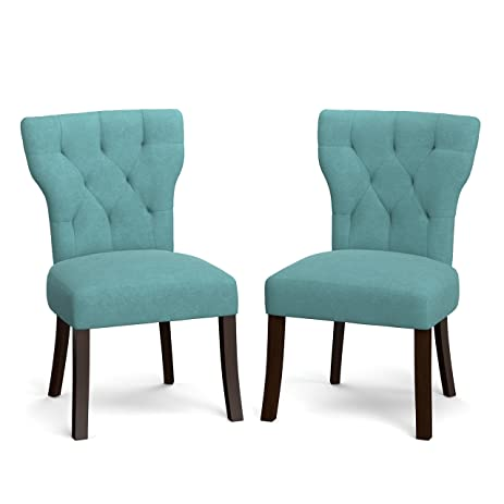 Side Chairs Turquoise Blue Velvet Upholstered Armless Dining Chairs Set Of  2   19.5 In High