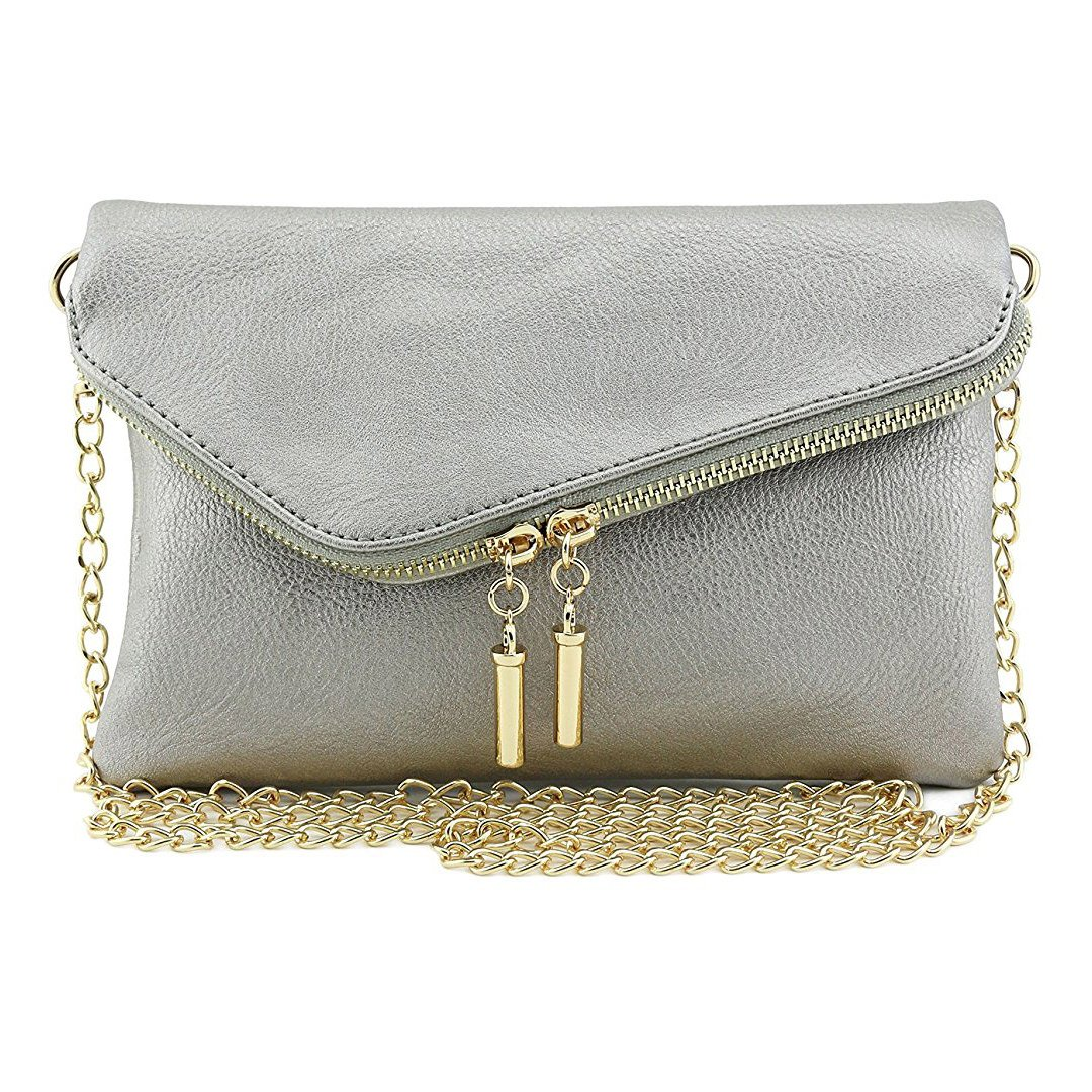 Bagblaze Envelope Foldover Wristlet Clutch Crossbody Bag with Chain Strap