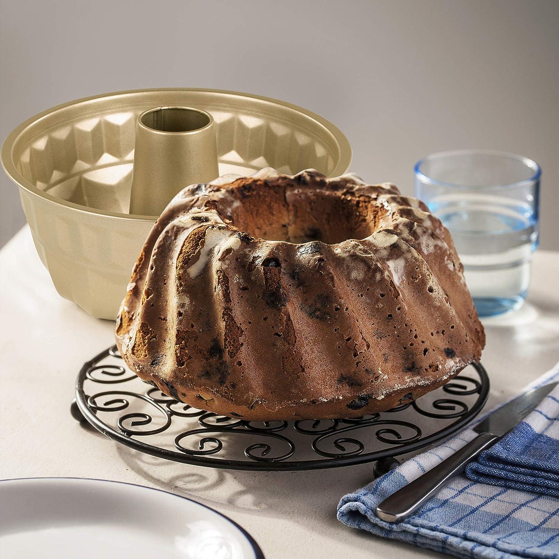 ROSMARINO Molde Bizcocho Savarin, 22 cm - Molde Bundt con Revestimiento Antiadherente - Molde para Hornear un Jugoso Bundt Cake