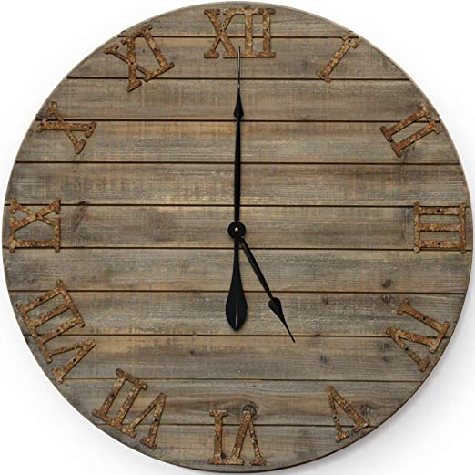 Large Rustic Wood Metal Wall Clock Decor Farmhouse Distressed Art Home Shabby