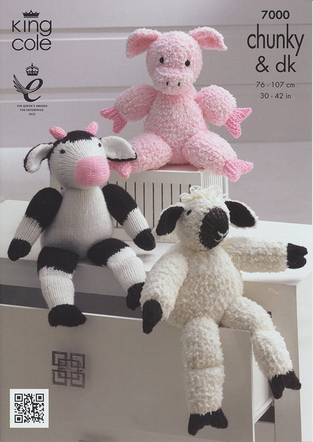 King cole dk knitted farm animal characters double knitting king cole dk knitted farm animal characters double knitting cuddles chunky pattern pig sheep cow amazon kitchen home dt1010fo