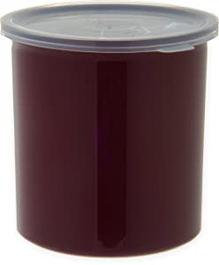 "Carlisle 034101 Poly Tuf Polypropylene Crock with Lid, 1.2 qt. Capacity, 5.18"" Height, Brown (Case of 12)"