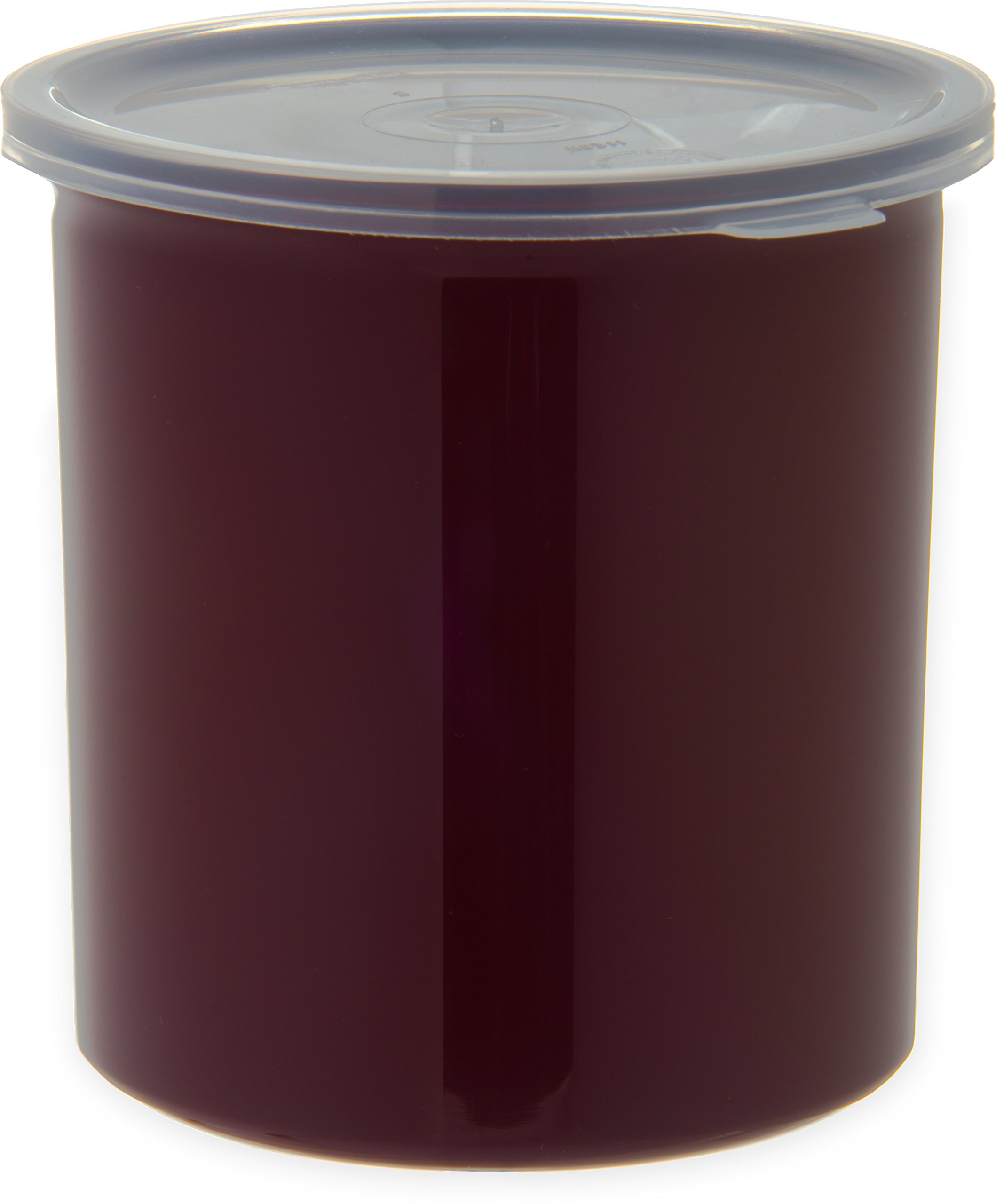Carlisle 034101 Poly Tuf Polypropylene Crock with Lid, 1.2 qt. Capacity, 5.18'' Height, Brown (Case of 12)
