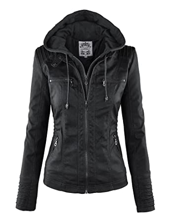 MBJ Womens Faux Leather Motorcycle Jacket with Hoodie at Amazon ...