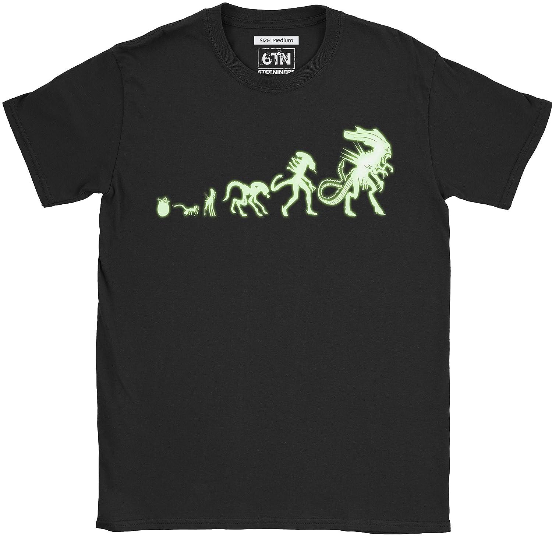 6TN Hombre Brilla en la Oscuridad Alien Evolution Camiseta