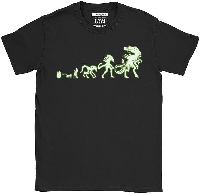 6TN Hombre Brilla en la Oscuridad Alien Evolution Camiseta: Amazon.es: Ropa y accesorios