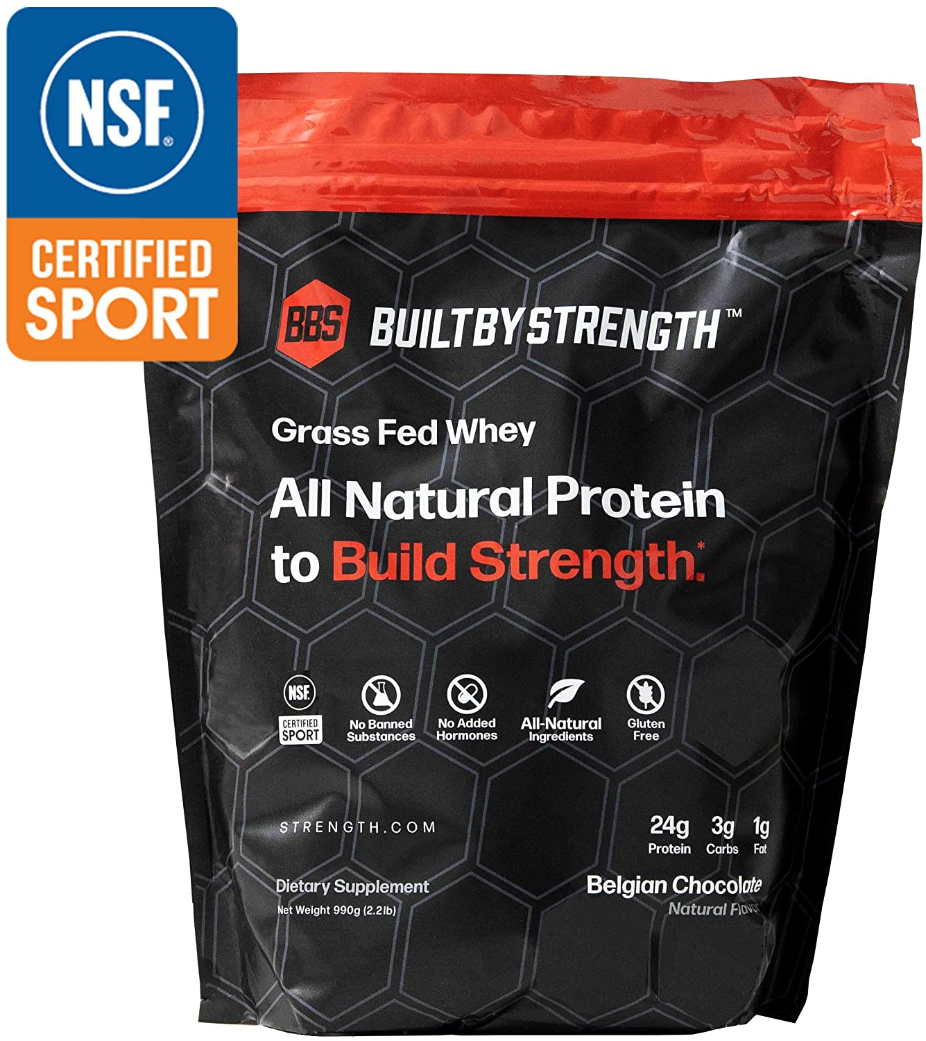 BuiltByStrength Grass Fed Whey Protein – NSF Certified All Natural Belgian Chocolate Whey Isolate Protein Powder – Tastes Great and Dissolves Easily in Coffee – Non GMO and Gluten Free 30 Servings