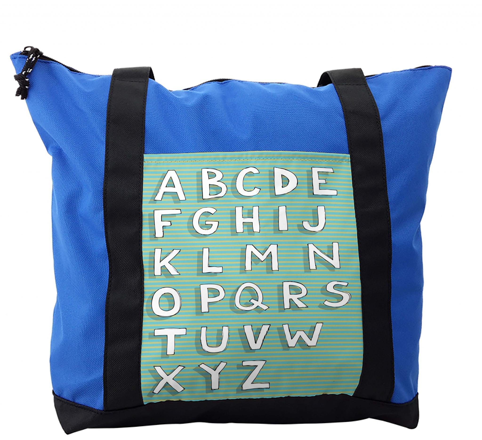 Lunarable ABC Kids Shoulder Bag, Horizontal Striped Capital, Durable with Zipper
