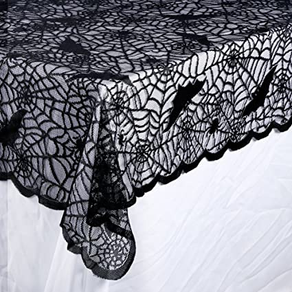 Etonnant OurWarm Halloween Tablecloth, Rectangular Polyester Lace Tablecloth Black  Spider Web Tablecover For Scary Movie Nights