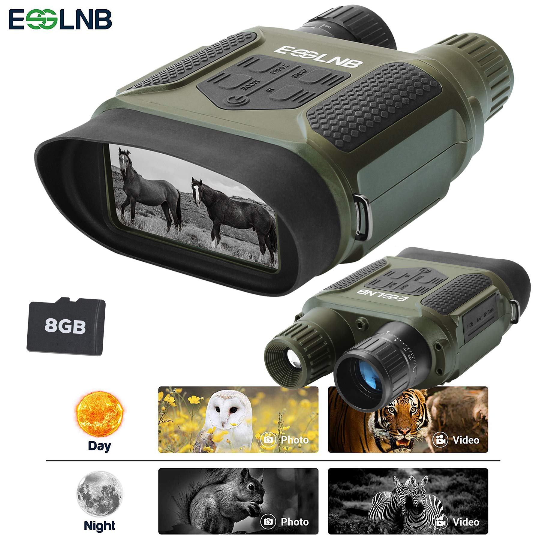 ESSLNB Night Vision Binoculars 1300ft Digital Night Vision Scope 7x31 Infrared Night Vision Hunting Binocular with 2'' TFT LCD and 8GB TF Card Photo Camera Video Recorder Playback Function by ESSLNB