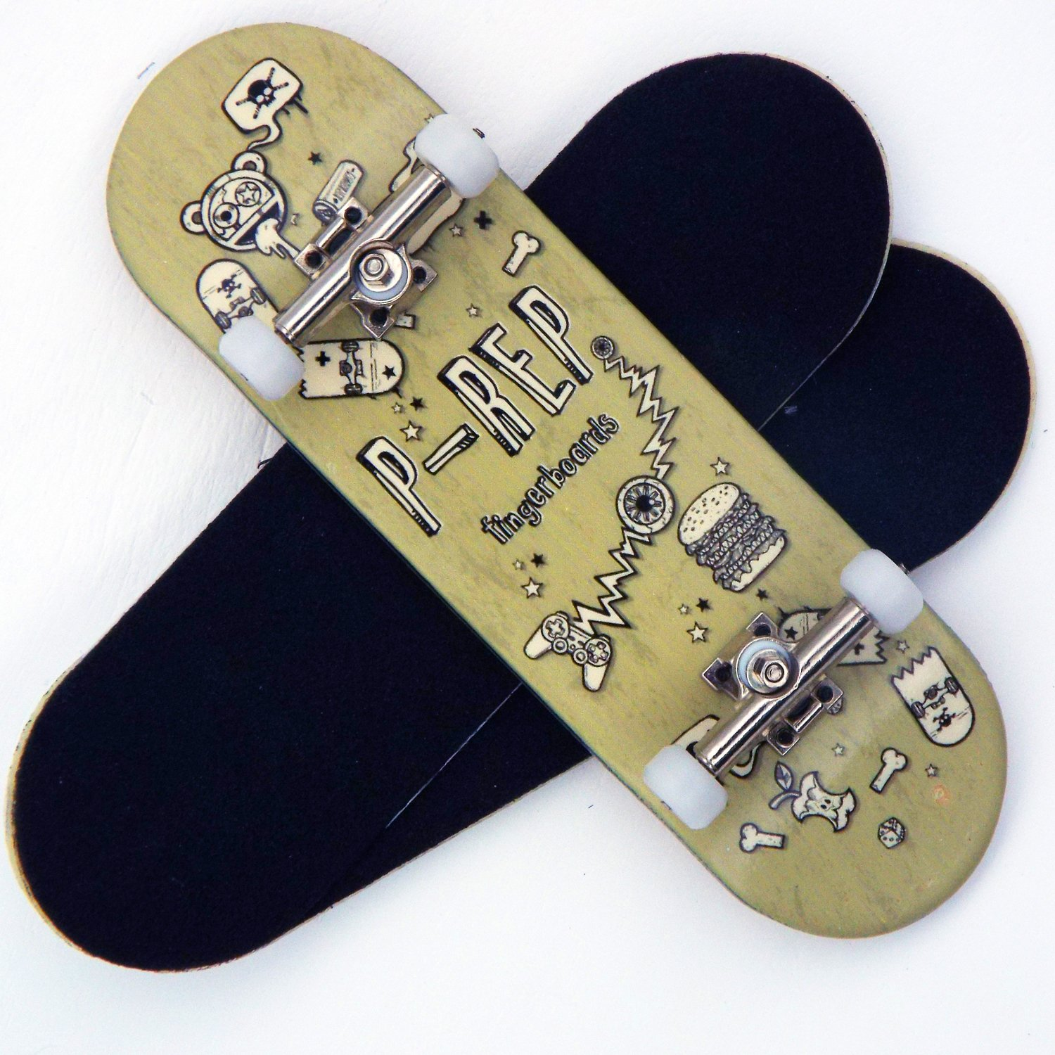 Peoples Republic P-Rep Stuff 30mm Graphic Complete Wooden Fingerboard w CNC Lathed Bearing Wheels