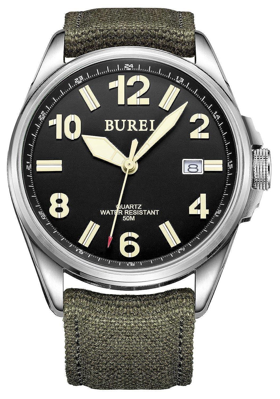 CarlienユニセックスDatejust Military Watch光ブラックダイヤルと陸軍グリーンキャンバスストラップ13015 B01M6D76N5