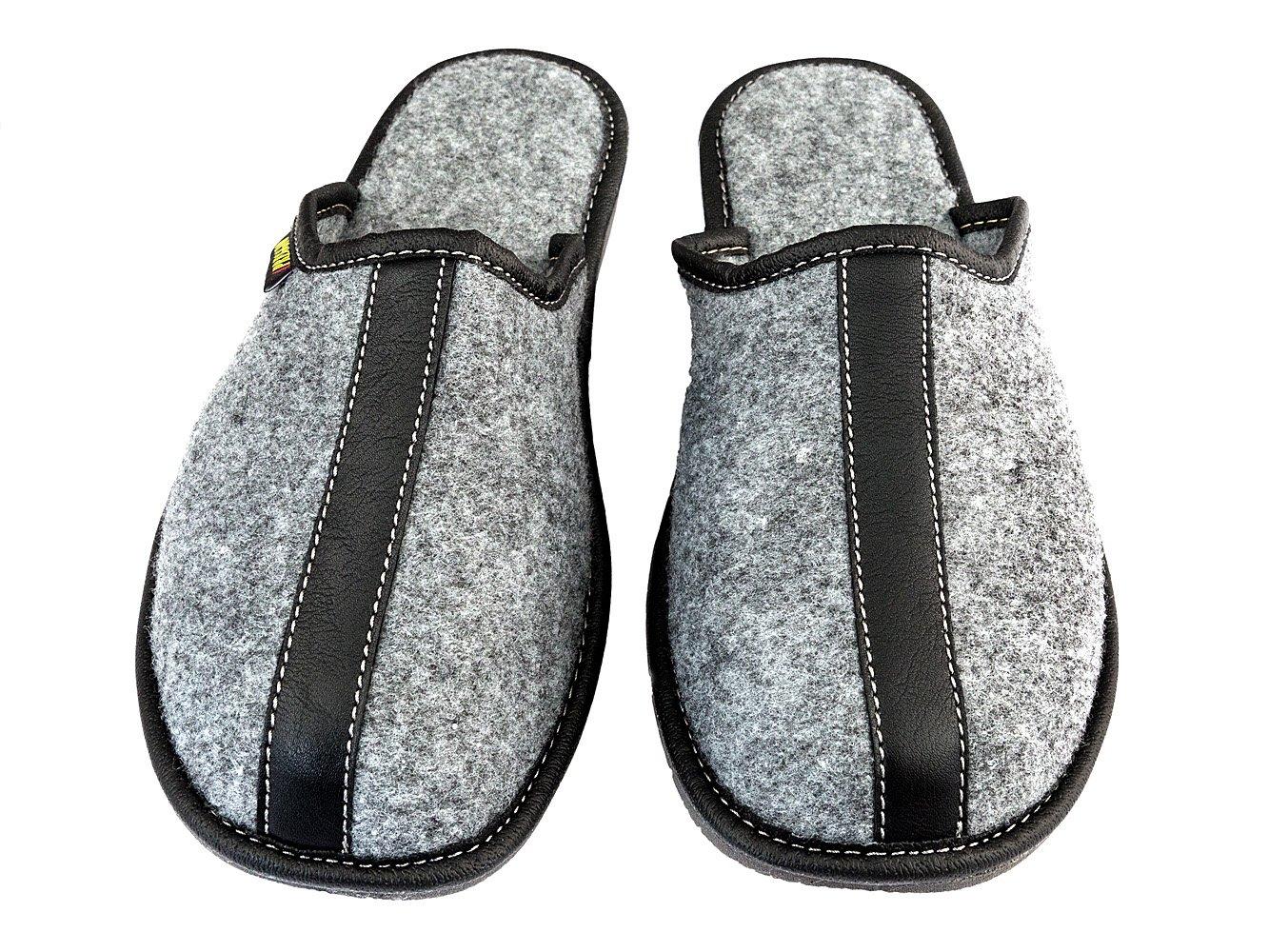 Filzpantoffeln Herren Filz Hausschuhe Filzlatschen Wärme Komfortschuhe Grau Handgemachte Qualität (44, Alfonso)