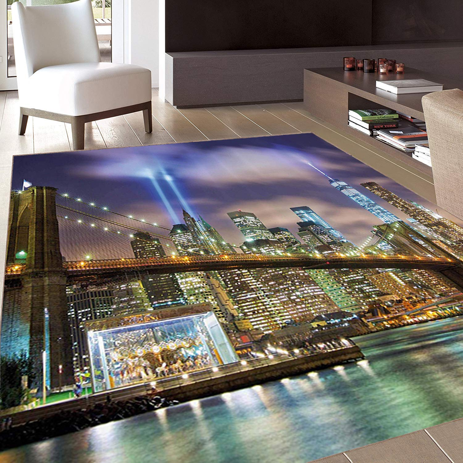 Rug,FloorMatRug,Apartment Set,AreaRug,Manhattan Skyline with Brooklyn Bridge and The Towers of Lights in New York City,Home mat,4