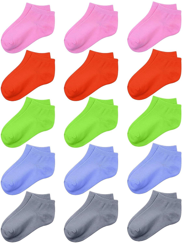 Coobey 15 Pack Kids Half Cushion Low Cut Athletic Ankle Socks Boys Girls Ankle Socks