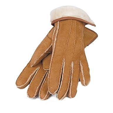 online zu verkaufen Mode-Design suche nach neuestem Unbekannt Lammfell-Handschuhe Damen/Herren cognac