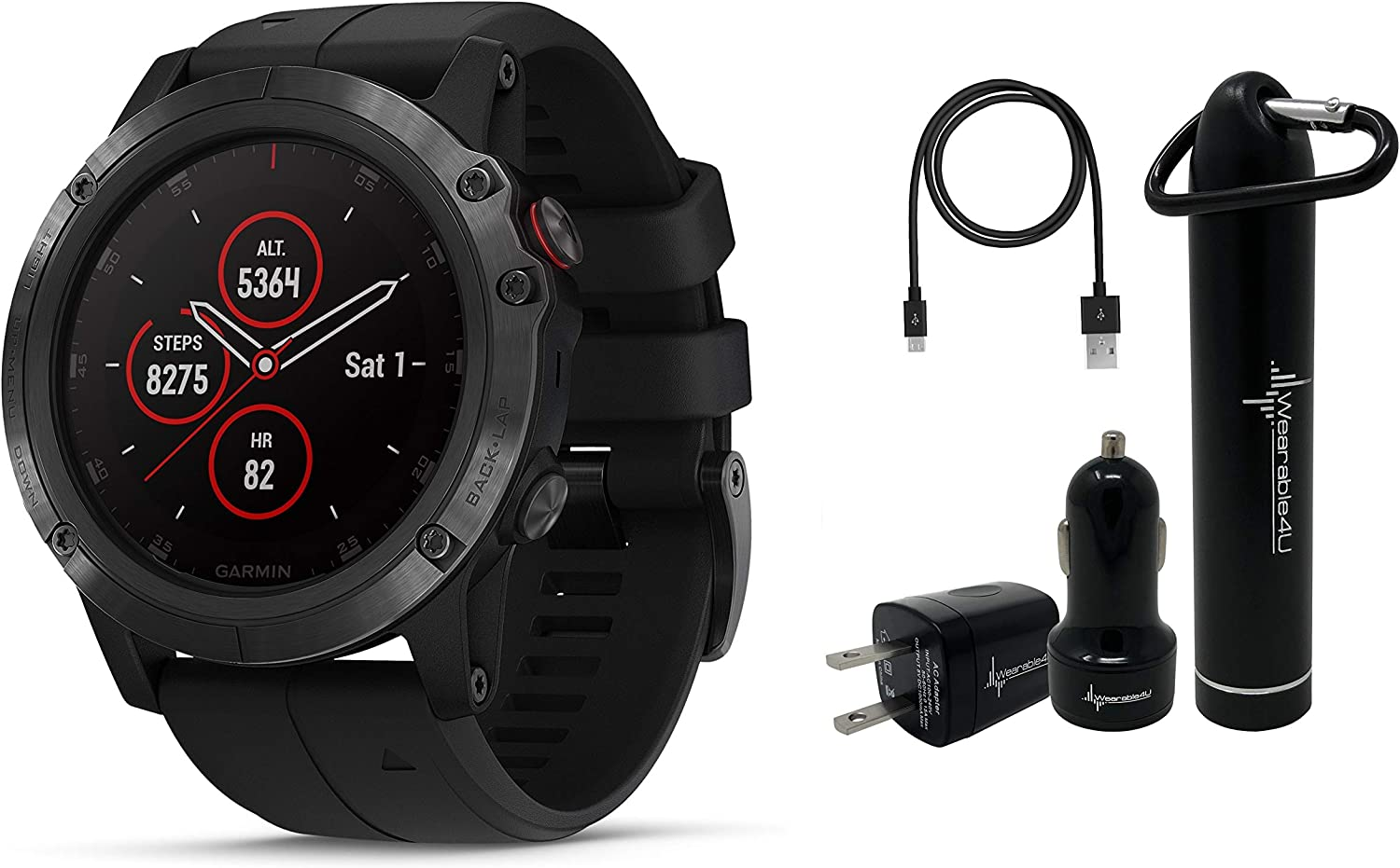 Amazon.com: Garmin Fenix 5X Plus Sapphire Premium Multisport ...