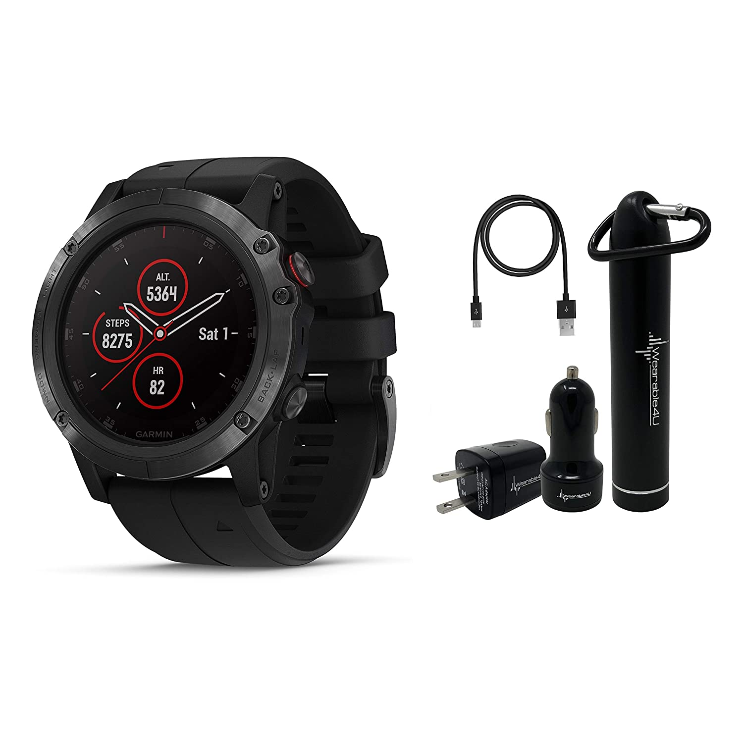 Garmin Fenix 5X Plus Sapphire Premium Multisport GPS Watch with Maps, Music and Contactless Payments and Wearable4U Ultimate Power Pack Bundle Sapphire Black with Black Band