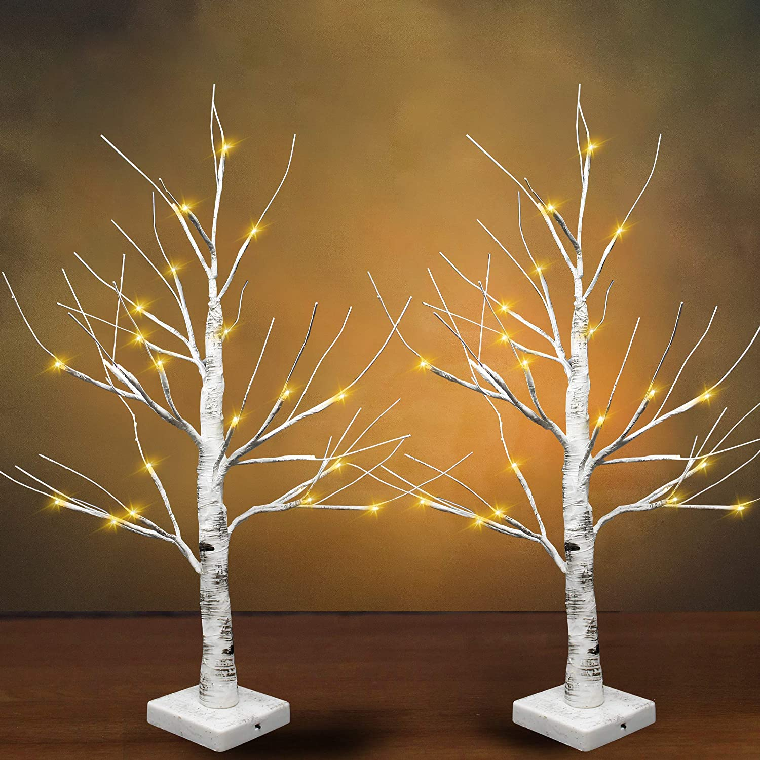 """24"""" LED Birch Tree with 24 Lights (2 Packs), Tabletop Lighted Bonsai Birch Tree Battery Powered Thanksgiving Table Decoration Light for Indoor Christmas Party Home and Bedroom Fall décor"""